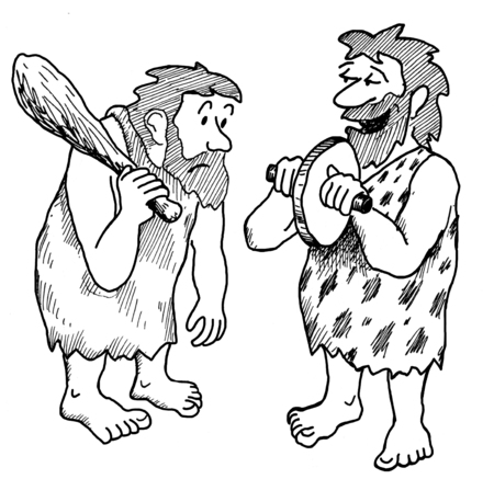 Illustration showing two stone age men looking at the wheel invention.