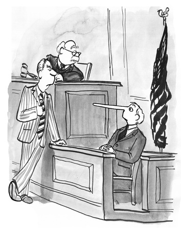 witness: Legal illustration showing a witness answer dishonestly.