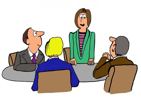 accomplishments: Business illustration of woman standing and talking at a meeting. Stock Photo