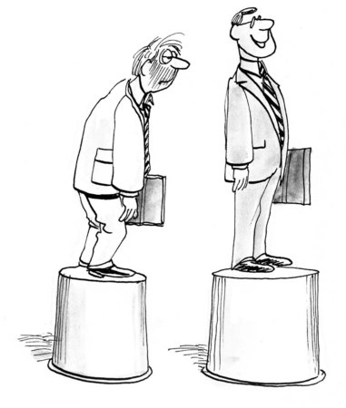 B&W business illustration contrasting a successful executive and an unsuccessful businessman.
