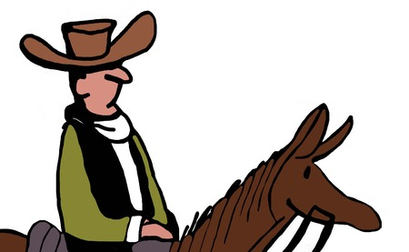 Color closeup illustration of cowboy riding a horse.