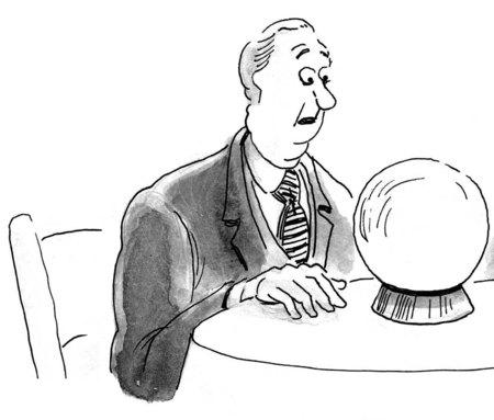 B & W zaken illustratie van een zakenman op zoek naar een kristallen bol.