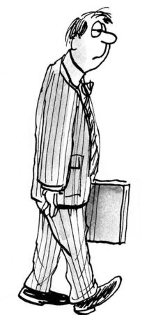 end of a long day: B&W business illustration of businessman walking.