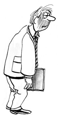 B&W business illustration of slumped businessman. Imagens