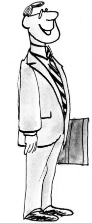 bw: B&W business illustration of smiling and standing businessman.