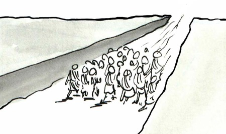 B&W illustration showing people in the distance walking through a dry river bed.