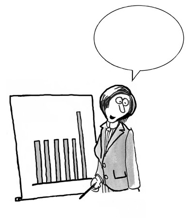 bw: INSERT YOUR OWN TEXT. B&W business illustration of woman standing beside bar chart Stock Photo