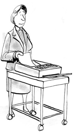 paralegal: B&W business illustration showing a businesswoman sending a fax. Stock Photo