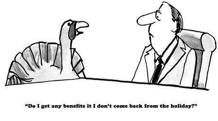 financially: B&W Thanksgiving cartoon of a turkey wanting to know about death benefits. Stock Photo