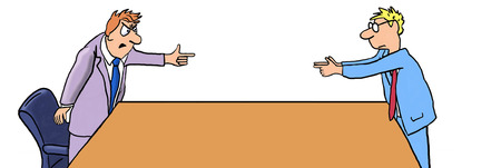 assign: Color business illustration showing two businessmen pointing fingers at each other. Stock Photo