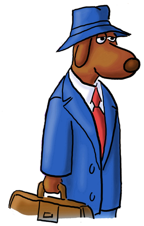 headed: Close-up, color illustration of a business dog headed to work.