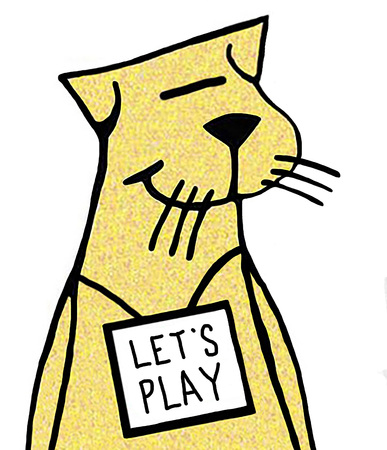 Closeup illustration of a yellow cat wearing a sign that says lets play.
