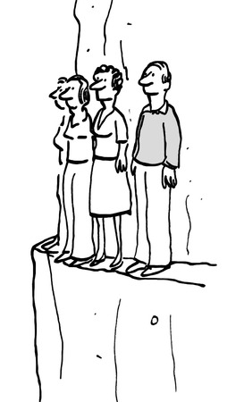 help each other: B&W business illustration of businesspeople standing on a narrow cliff edge.
