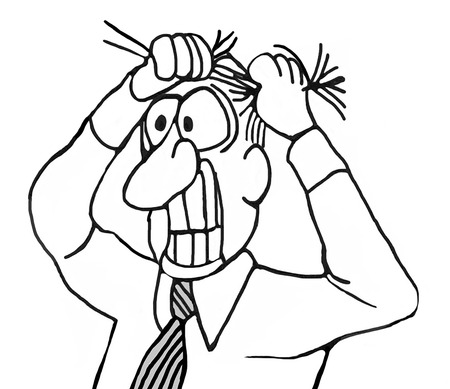 gritting: B&W, closeup illustration of businessman pulling his hair out and gritting his teeth. Stock Photo