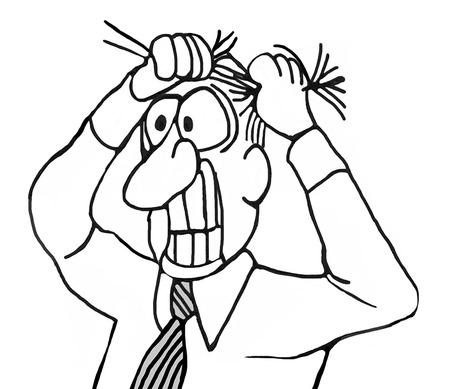 B & W, illustrazione primo piano di uomo d'affari tirando i capelli fuori e stringendo i denti.