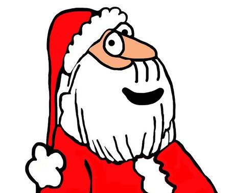 Close-up, color Christmas illustration smiling Santa Claus. Stock Photo
