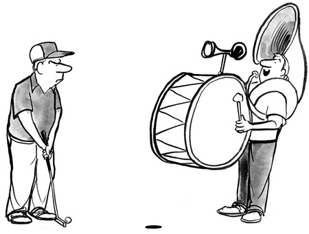 putt: B&W illustration of one man band disrupting a golfer about to putt.