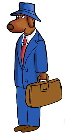 dutiful: Color illustration of business dog ready for work.