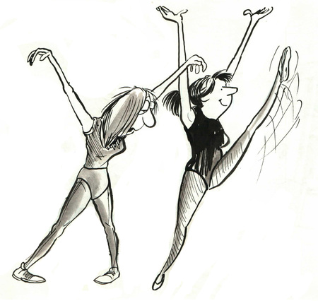 worn out: B&W illustration of two women exercising, one is excited, the other is tired. Stock Photo