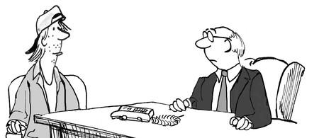 preguntando: Ilustración del asunto del hombre descuidado, joven escuchando hombre de negocios.