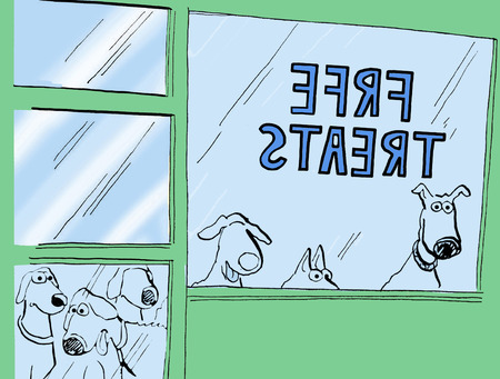 eager: Color illustration showing six dog looking in store window that offers free treats.