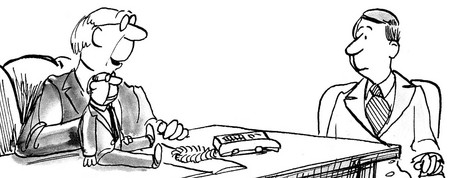 B&W business illustration showing boss with a dummie which he uses to communicate with employees.