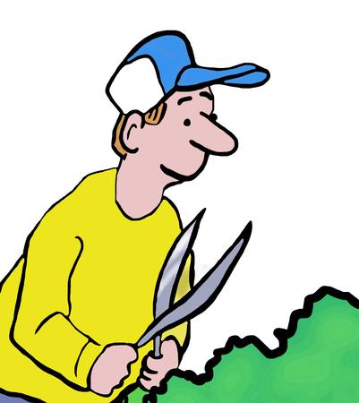 Close-up kleur illustratie van de mens trimmen struiken.