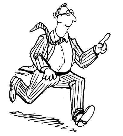 persuasive: B&W business illustration showing businessman running and pointing.