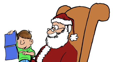 nudity: Color Christmas illustration of little boy on Santas lap pointing to magazine centerfold. Stock Photo