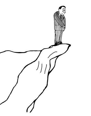 cliff edge: B&W business illustration of a man on the very edge of a steep cliff looking down.