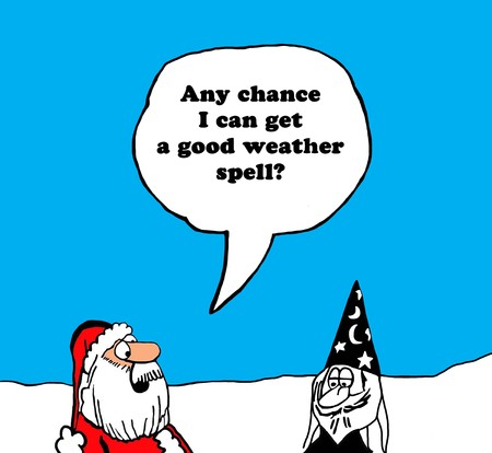 gag: Color Christmas cartoon of Santa Claus asking the wizard for good weather. Stock Photo
