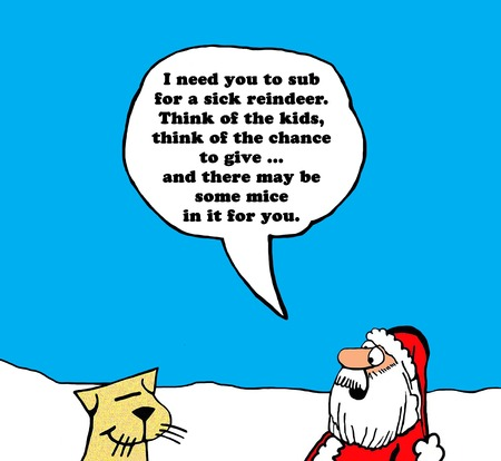 substitute: Christmas carton of Santa Claus trying to get a cat to substitute for a sick reindeer. Stock Photo