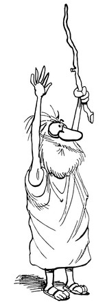 B&W illustration of a prophet with both hands raised into the air.
