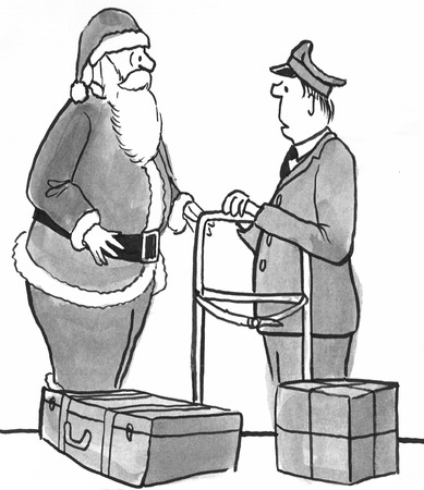 Christmas cartoon showing Santa Claus picking up packages at the airport.