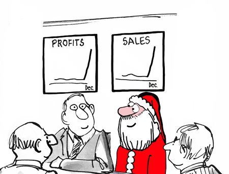 sales meeting: Christmas and business illustration of Santa Claus in a meeting and charts showing skyrocketing sales in December. Stock Photo