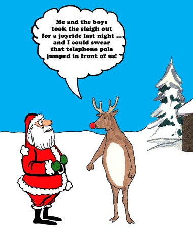 humorous: Color Christmas illustration of Rudolph telling Santa Claus he wrecked the sleigh.