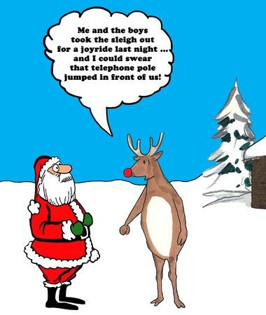 Farbe Weihnachtsillustration von Rudolph erzählt Weihnachtsmann zerstörte er den Schlitten. Standard-Bild