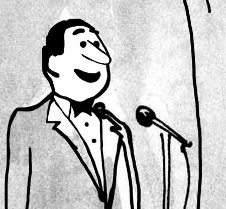 bw: B&W closeup illustration of man at a microphone.