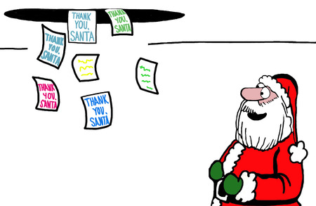 come in: Color illustration of a happy Santa Claus watching the Thank You notes come in.