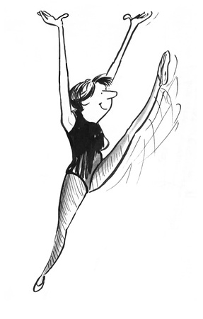 woman exercising: B&W illustration of smiling, energetic woman exercising.