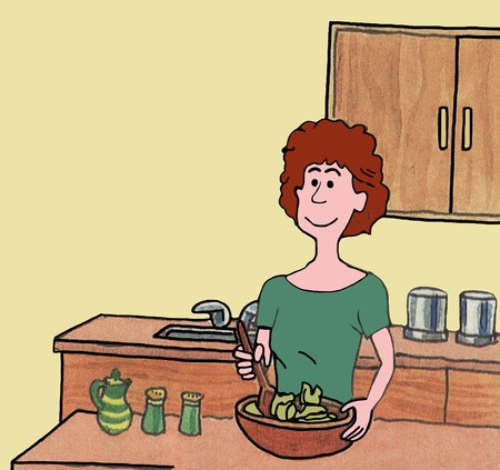 tossing: Color illustration of a woman preparing a salad in her kitchen.