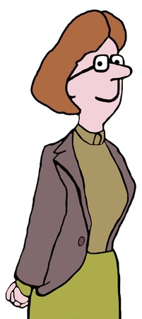 head and shoulder: Color, closeup illustration of conservatively dressed woman.