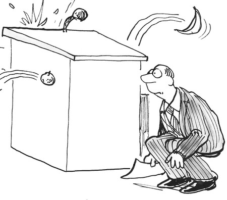 rotten: Business or political cartoon of man crouching behind podium as audience throws rotten tomatoes. Stock Photo