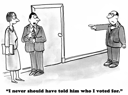 trump: Political cartoon where a coworker blames a peer for his vote in the Presidential election. Stock Photo