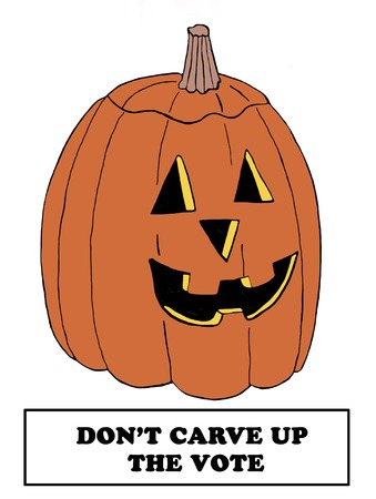 trump: Political cartoon of a jack-o-lantern and the words dont carve up the vote. Stock Photo