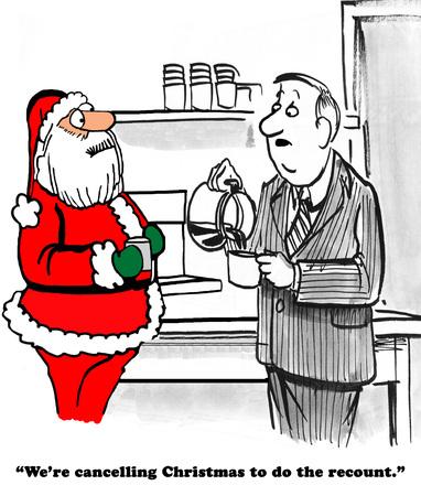 Caricatura política sobre la cancelación de la Navidad para hacer el recuento de votos presidenciales. Foto de archivo - 62931029