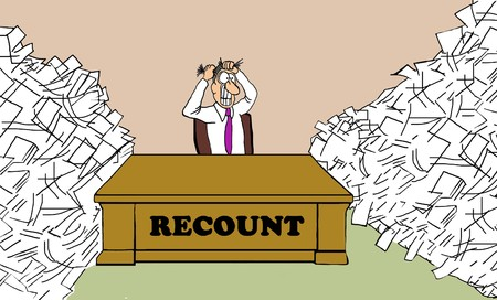 Political cartoon showing the man responsible for the Presidential vote recount pulling his hair out.