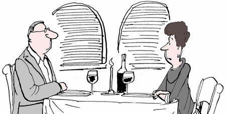 mature men: Black and white illustration of husband and wife at restaurant.