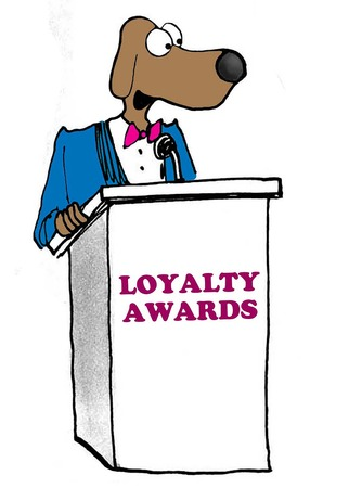 Color illustration of business dog accepting loyalty award.