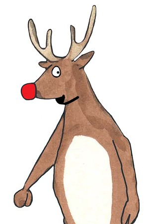 Color illustration of red nosed reindeer Stock Photo